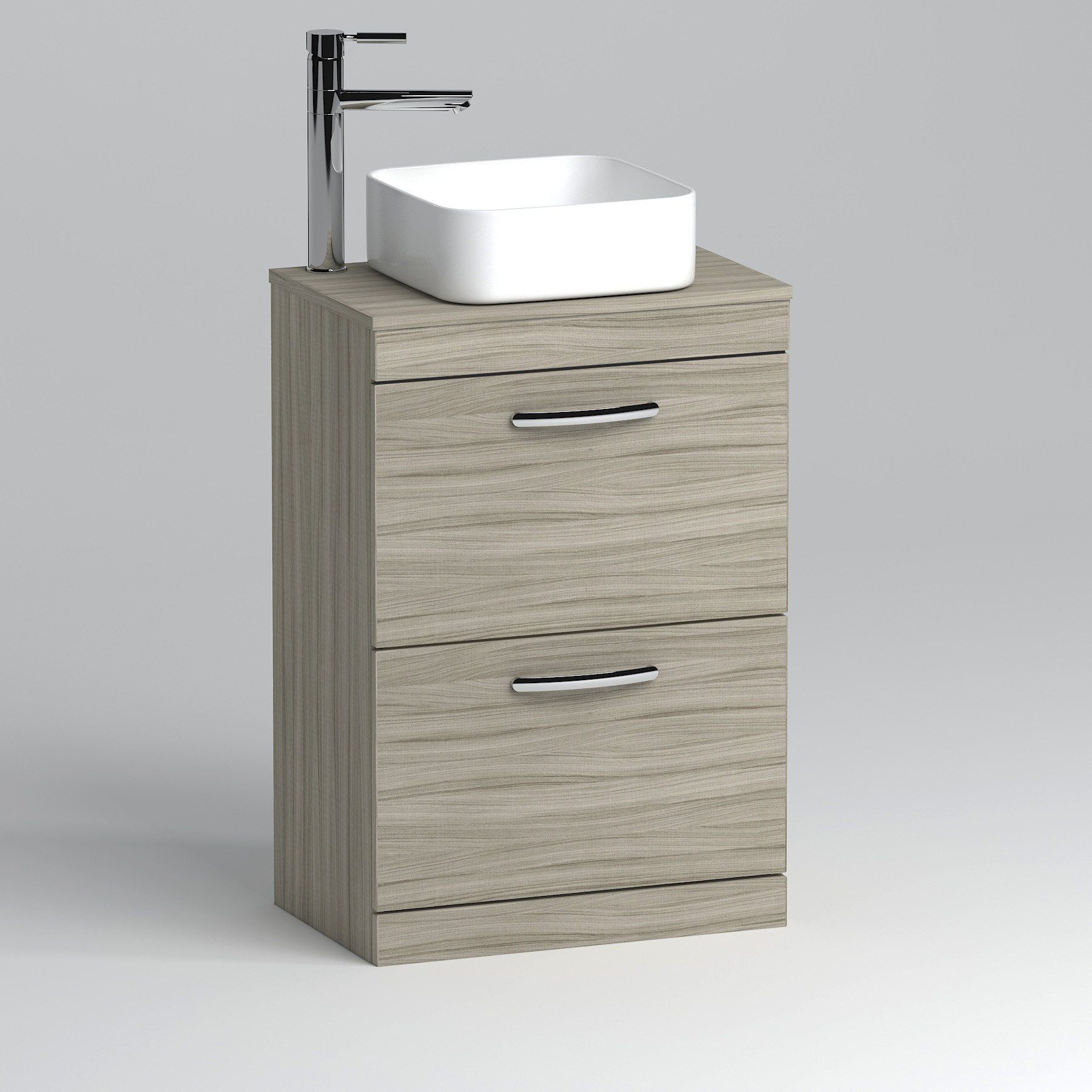 600mm Floor Standing Vanity Unit 2 Drawer Beachwood Countertop