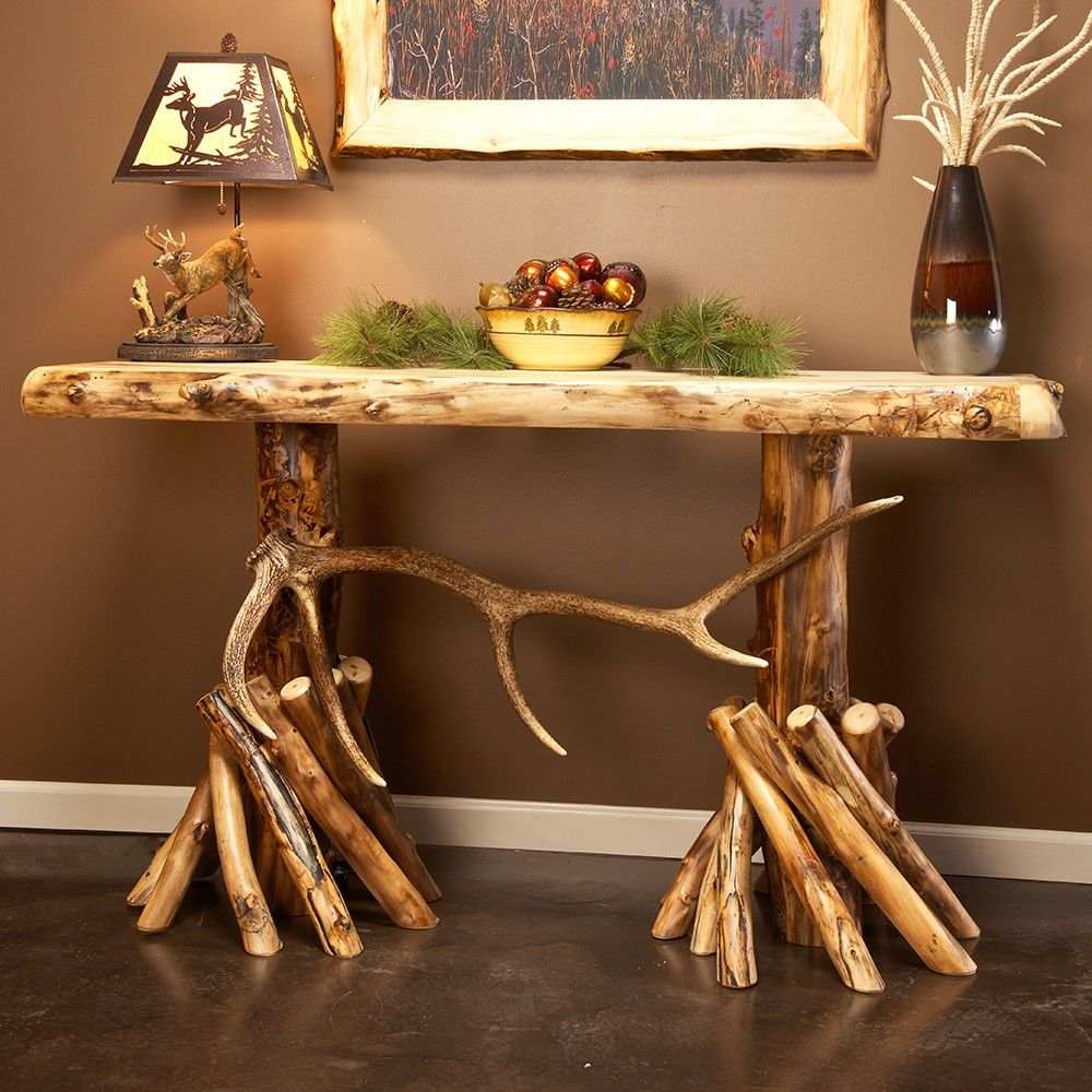 Aspen & Elk Antler Log Sofa Table
