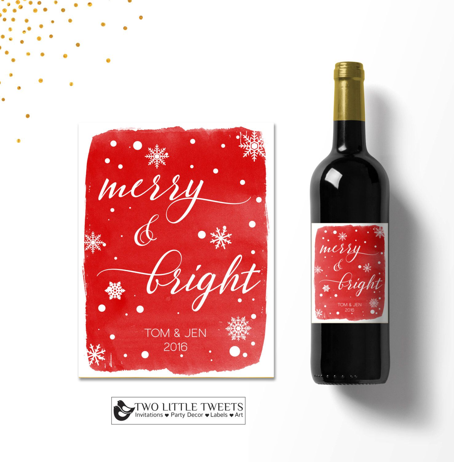 A Personal Favorite From My Etsy Shop Https Www Etsy Com Listing 479467298 Christmas Wine Labels Water Christmas Wine Label Holiday Wine Label Christmas Wine