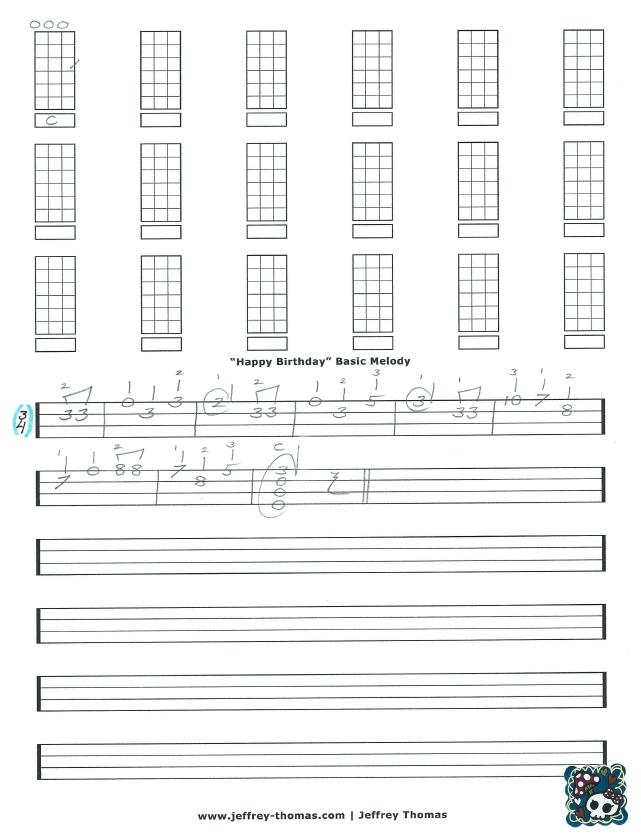 """""""Happy Birthday"""" Basic melody version! More free ukulele"""