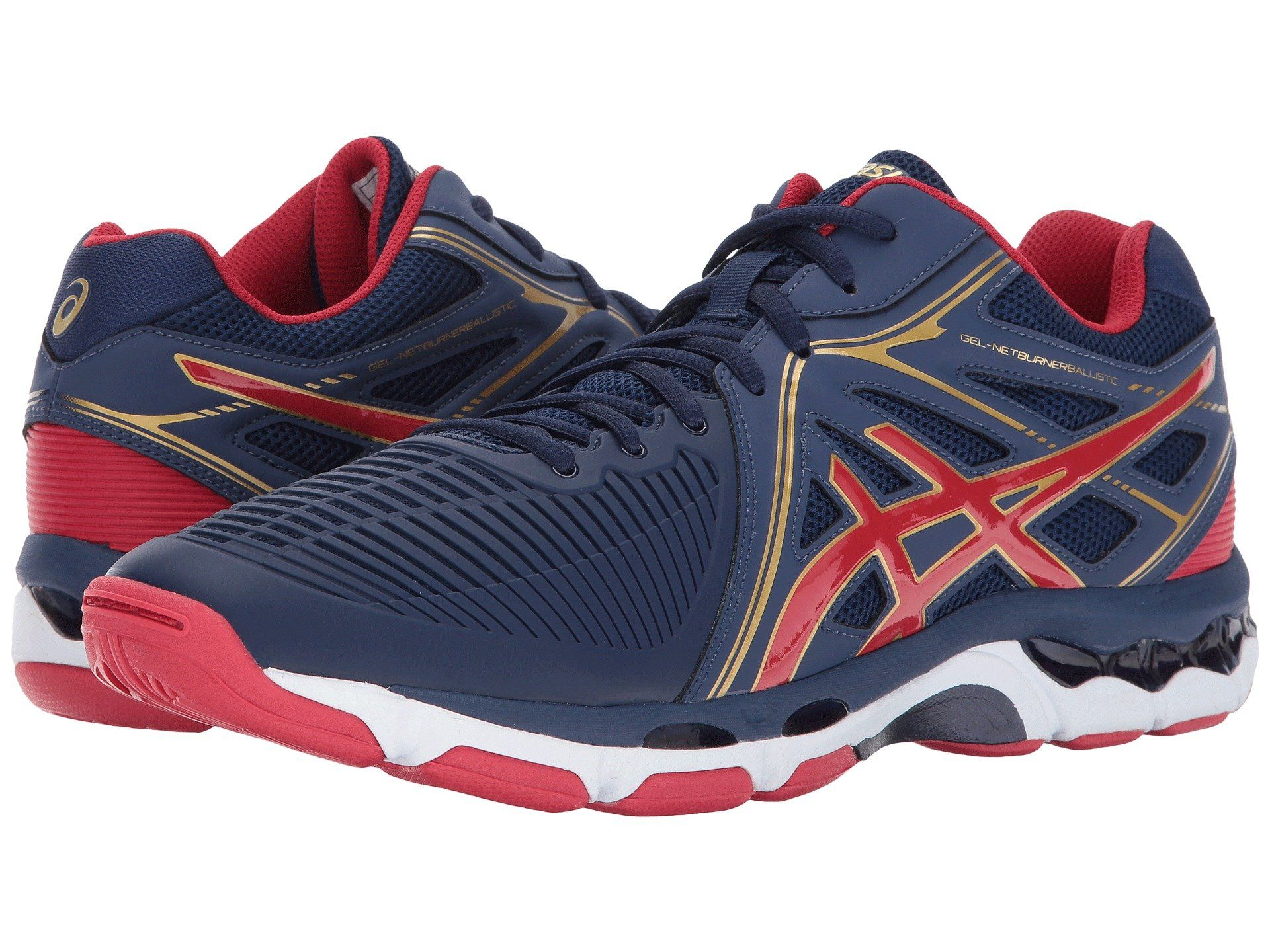 Gel Netburner Ballistic Mt In Indigo Blue Prime Red Rich Gold Asics Volleyball Shoes Asics Volleyball Shoes