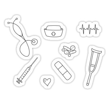 Nurse / Nursing Student Doodle Sticker Set Sticker #nursingstudents
