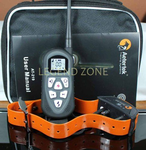 New Version AETERTEK Waterproof Rechargeable Remote Contol LCD Display Remote  Dog Training Collar with Shock 67b46ed8fca