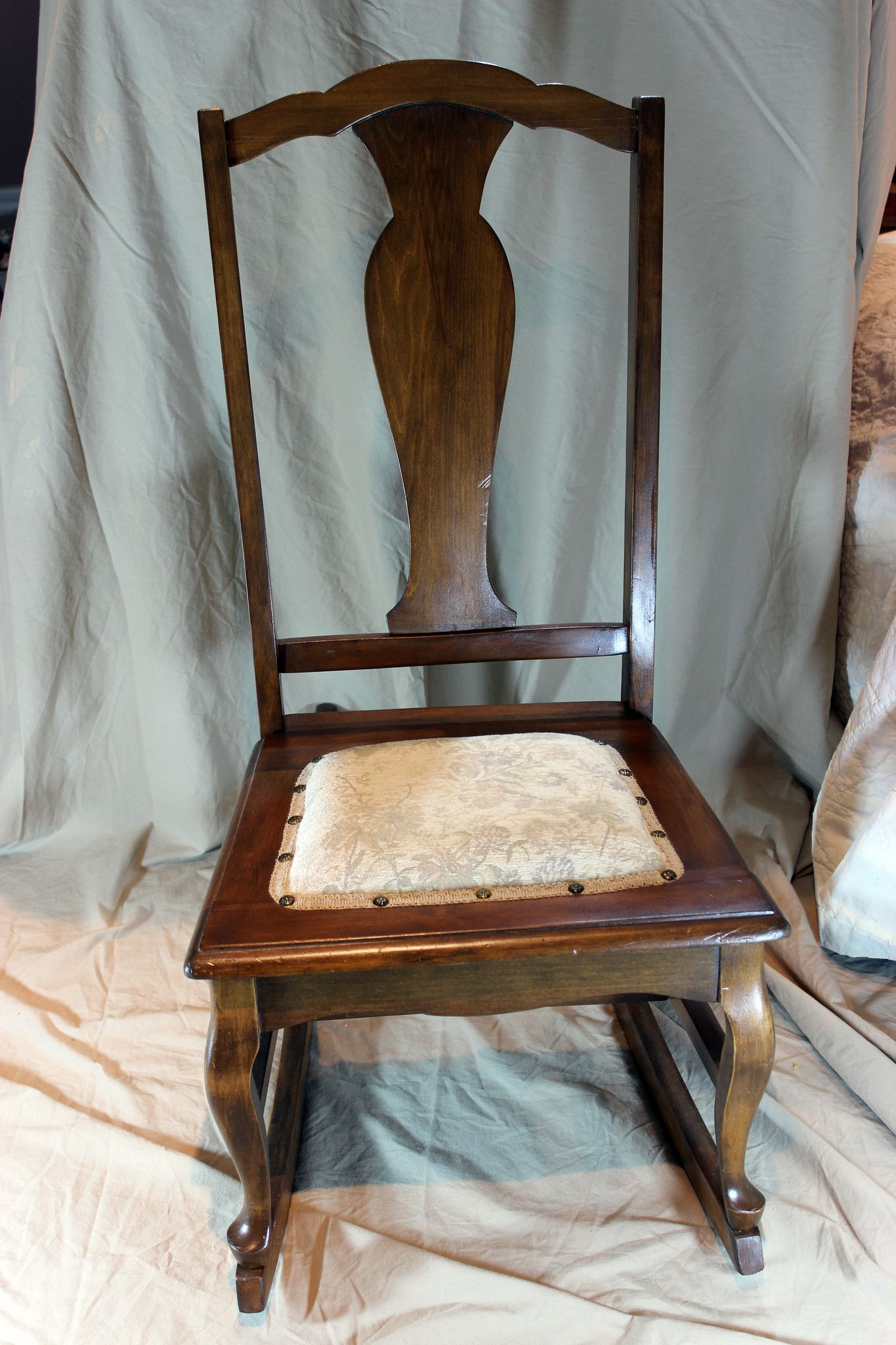 This chair would be a lovely addition to any room. Solid back splat and  cabriole - Small Antique Nursing/Sewing Rocker Circa1920's In 2018 DIY