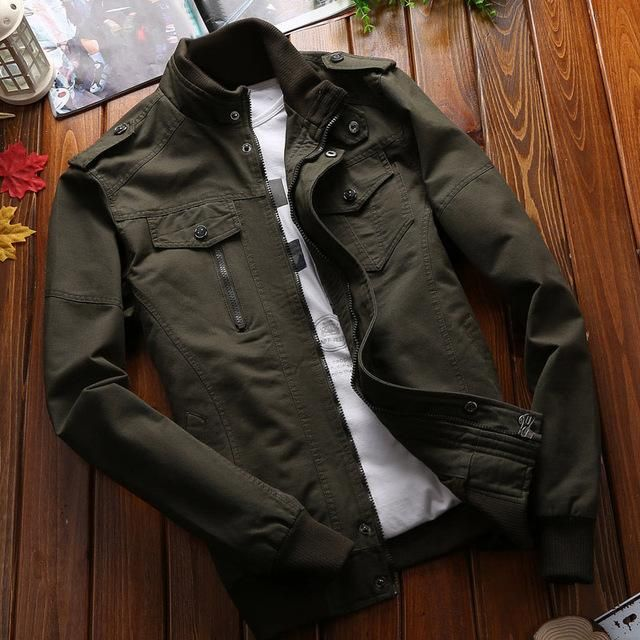 Mens Spring Army Work Jacket Collar Bomber Casual Baseball Cotton Outwear Coat