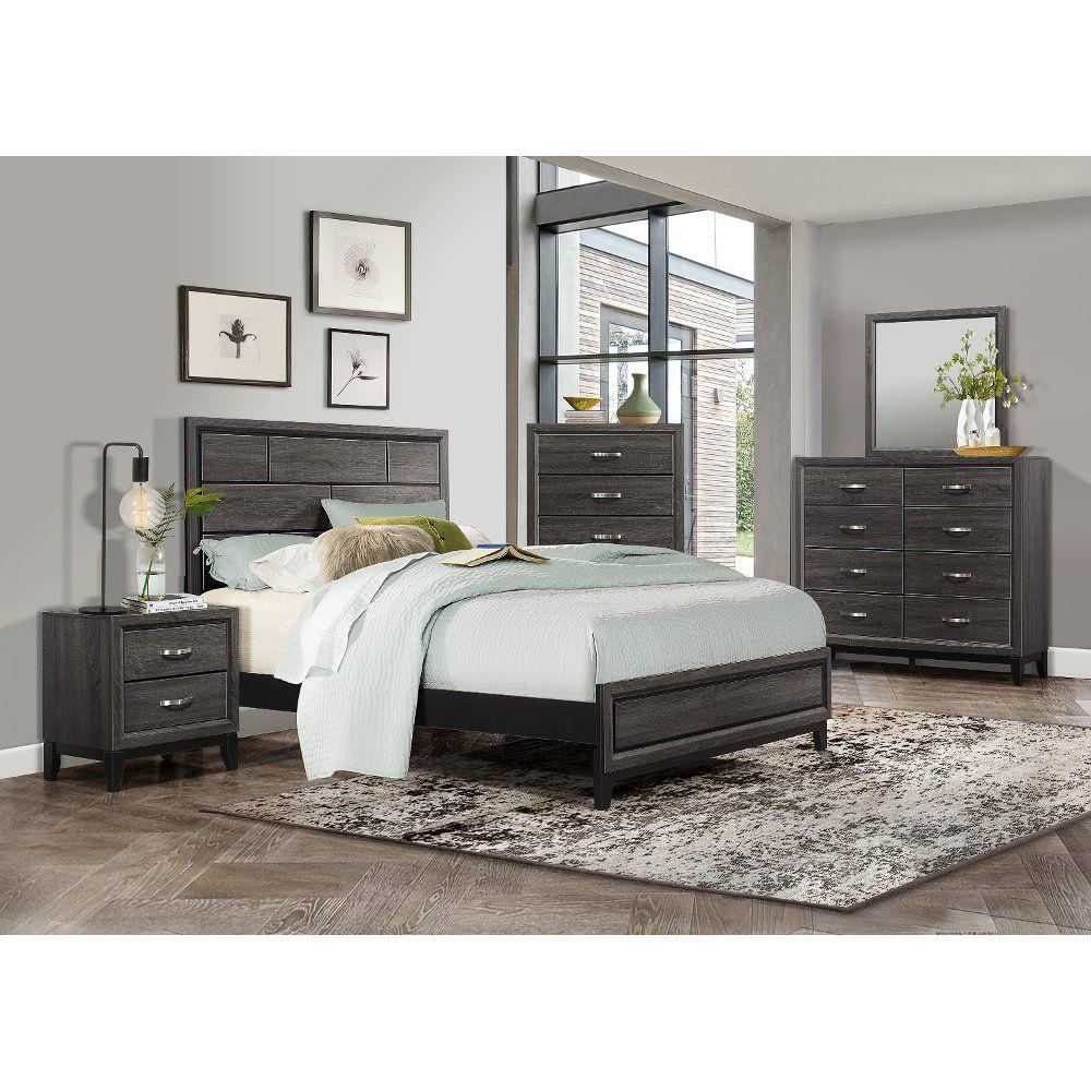 Modern Farmhouse Gray 4 Piece Queen Bedroom Set Atticus Farmhouse Bedroom Set Bedroom Sets Furniture Queen Bedroom Sets Queen