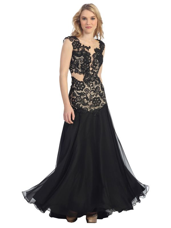Black Lace Ballroom Gown