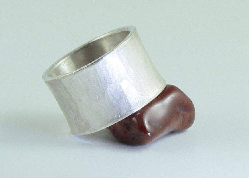 Forge ring, wide, strong, with hammer blow and distended, sterling ...
