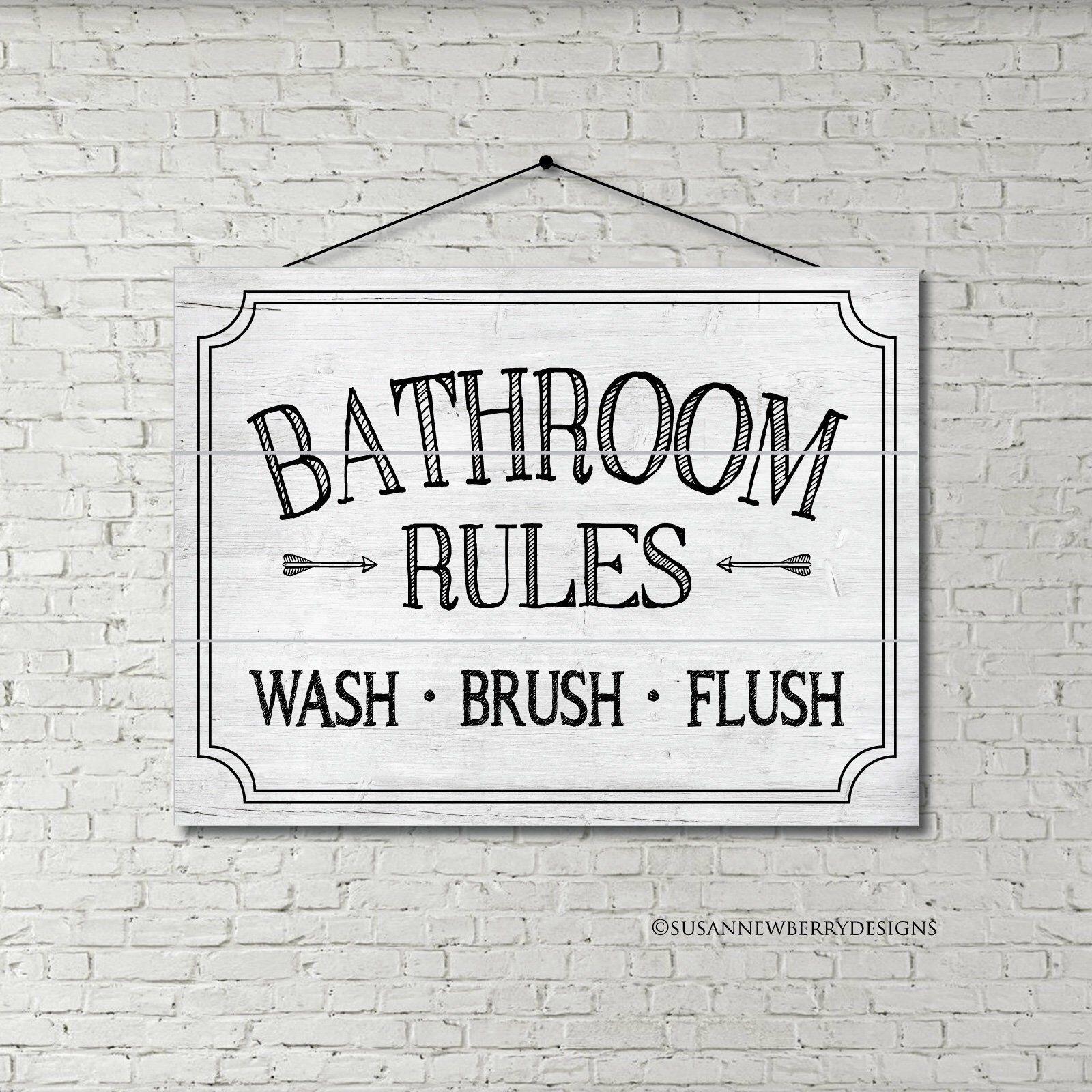 Bathroom Rules Wash Brush Flush Wood Sign Pallet Print Etsy Bathroom Rules Bathroom Wall Decor Art Bathroom Wall Decor