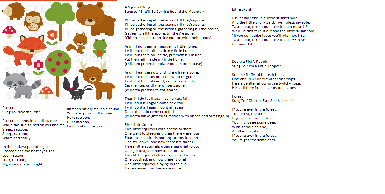Forest animals songs for next weeks lesson plan