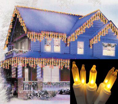 Set Of 100 Frosted Gold Mini Icicle Christmas Lights White Wire You Can Get More Purple Christmas Lights Icicle Christmas Lights Christmas Lights