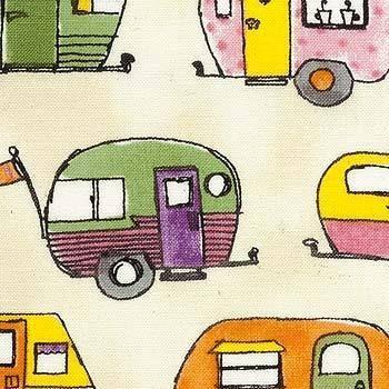 """Stoff """"Camping"""" Wohnwagen Ferien z.B als Kissen von smukt auf DaWanda.com"""