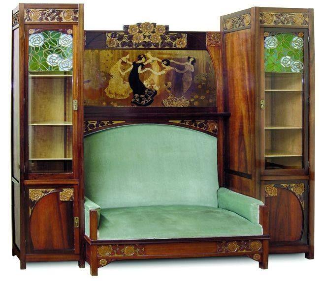 Art Nouveau - Meuble Sofa + Vitrine - Gaspar Homar - 1903 | ART ...