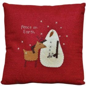 Pillow - Snowman Peace on Earth - Primitive Country Rustic Winter Christmas Embroidered Seasonal Decor $17.99