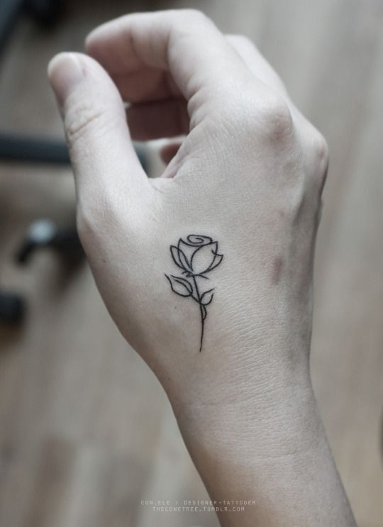 Theconetree Rose Outline Tattoo Tattoos Hand Tattoos
