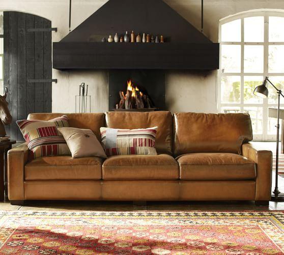 Turner Leather Square Arm Sofa  Grand Sofa @ Potterybarn X X