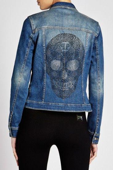 f7819b705f6 Philipp Plein Rhinestone Skull denim jacket