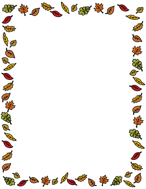A border featuring colorful autumn leaves around the page ...