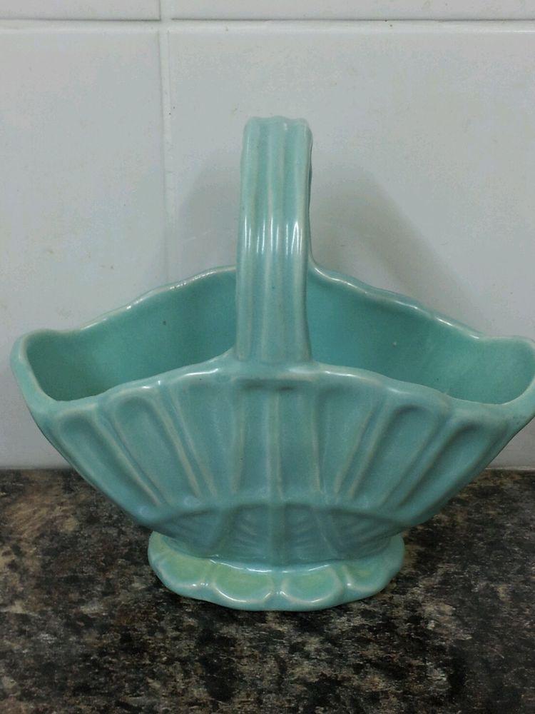 Pretty Vintage Scottish Pottery Basket Vase By Govancroft Glasgow