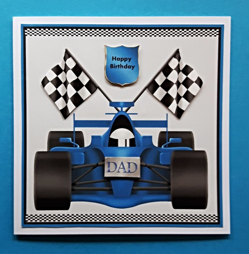 Handmade birthday card for dad with 3d racing car