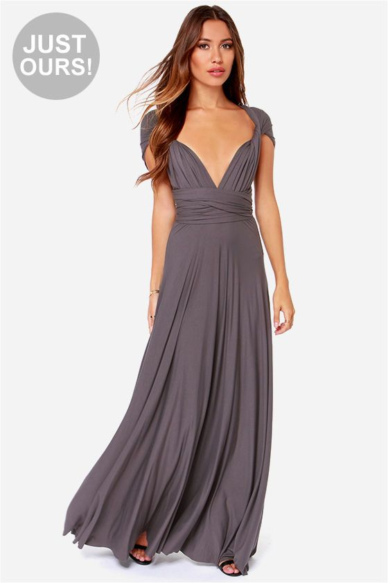Lulus Exclusive Tricks Of The Trade Grey Maxi Dress At