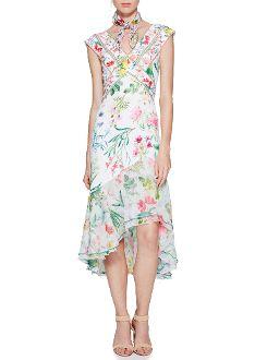 36ddfd7a19 Tadashi Shoji Floral Cap Sleeve Hi-Lo Dress AVZ17053MD   New ...