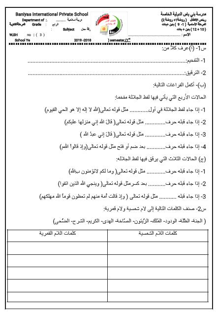 ورقة عمل درس احكام التجويد الصف الرابع مادة التربية الاسلامية Private School School Semester