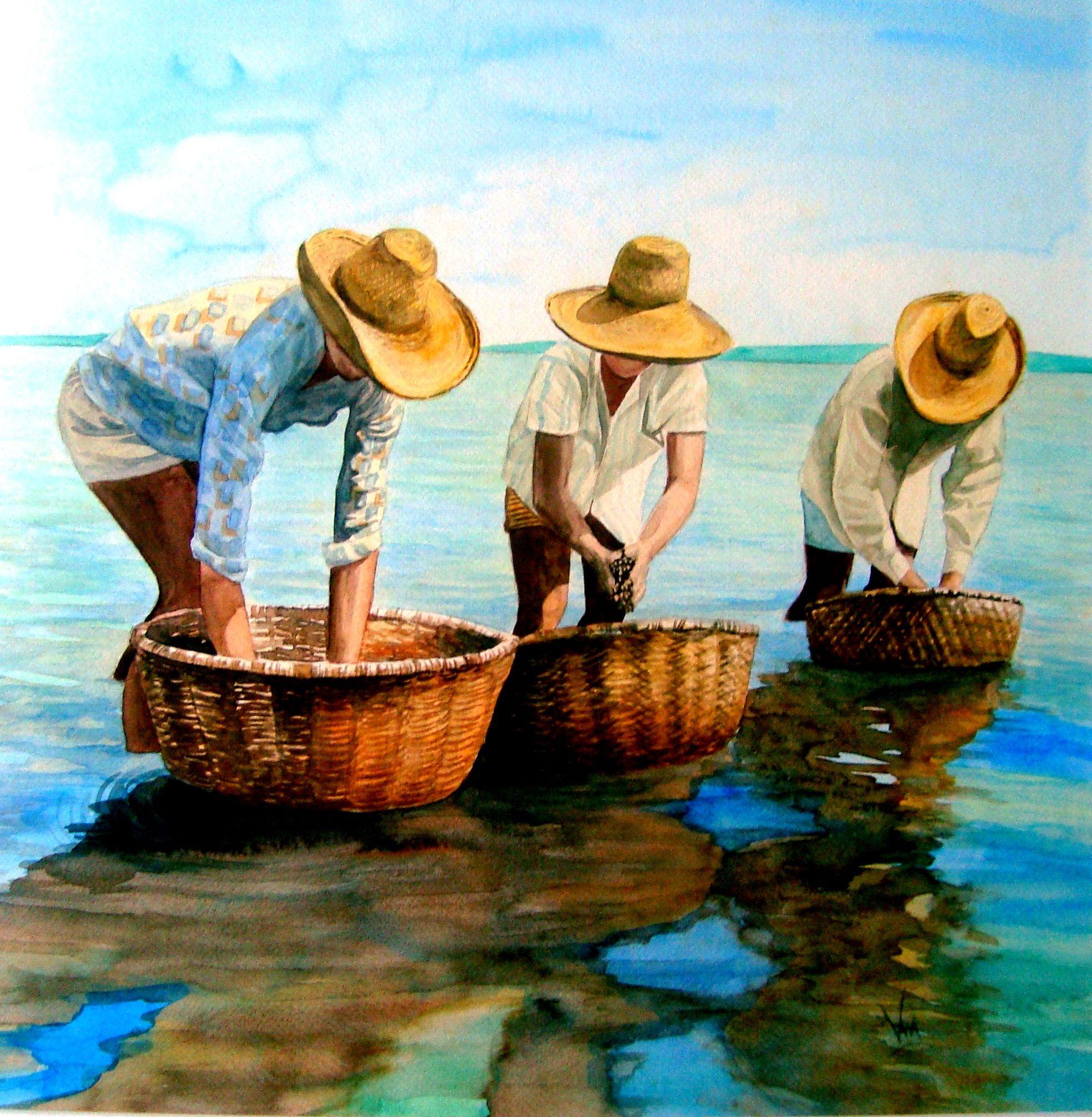 Pescadores De Mexilh 245 Es Aquarela Por Silvana Pohl Em
