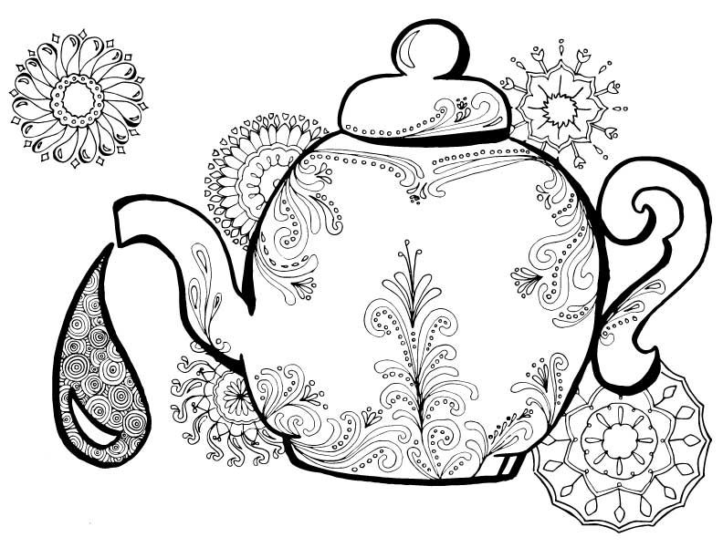 Adult Coloring Pages perfect for tea time! | Teas, Adult coloring ...