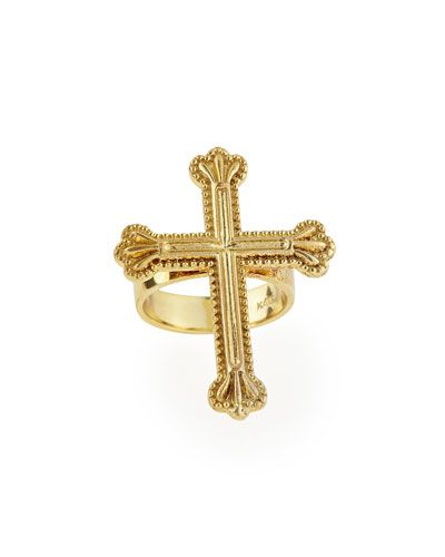 Y294A Katie Design Jewelry Yellow Gold Crown the Cross Ring