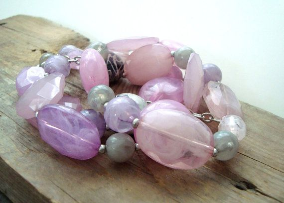 SALE Pink and Gray Lucite Bead Stretchy Statement Bracelet Spring Fashion