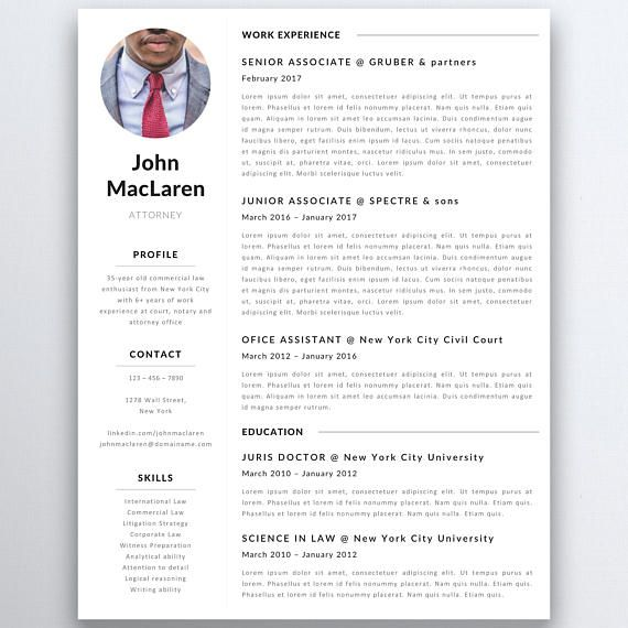 Professional Resume Template Lawyer Resume Legal Resume  Modern