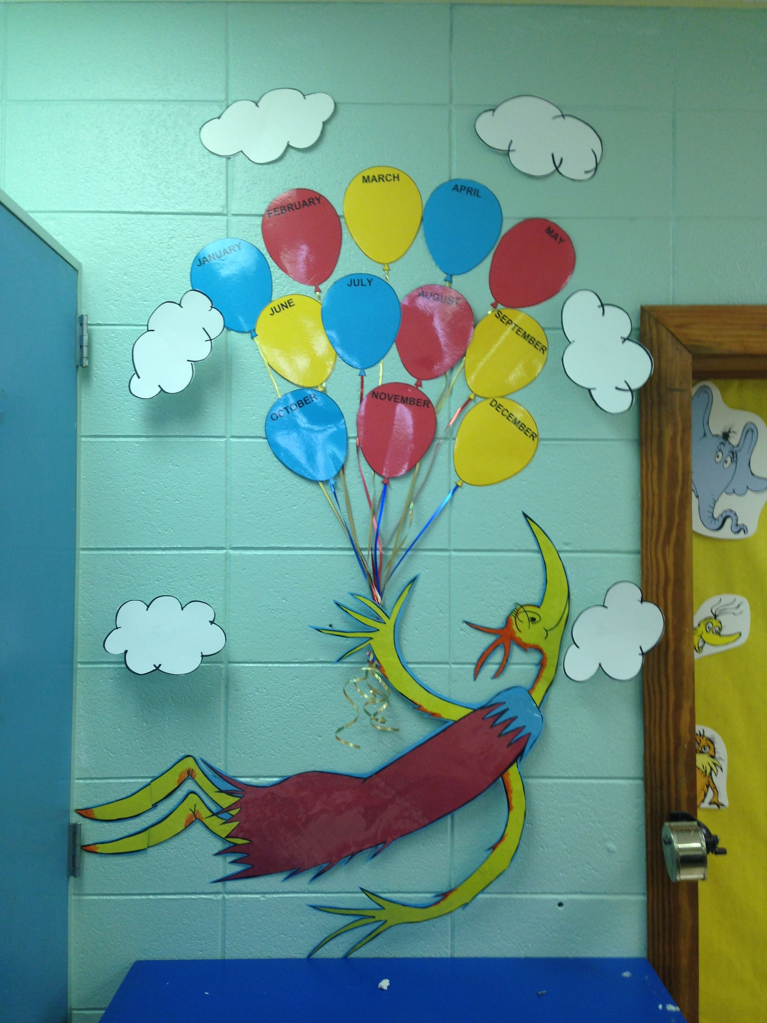 Dr. Seuss Birthday Bulletin Board :) Would probably have to *attempt ...