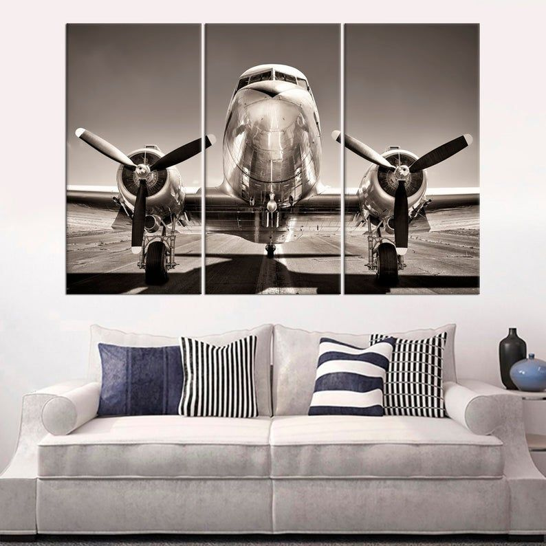 Vintage Airplane Wall Art Decor Propeller Airplane Large Etsy Airplane Wall Art Vintage Airplane Wall Art Large Canvas Art