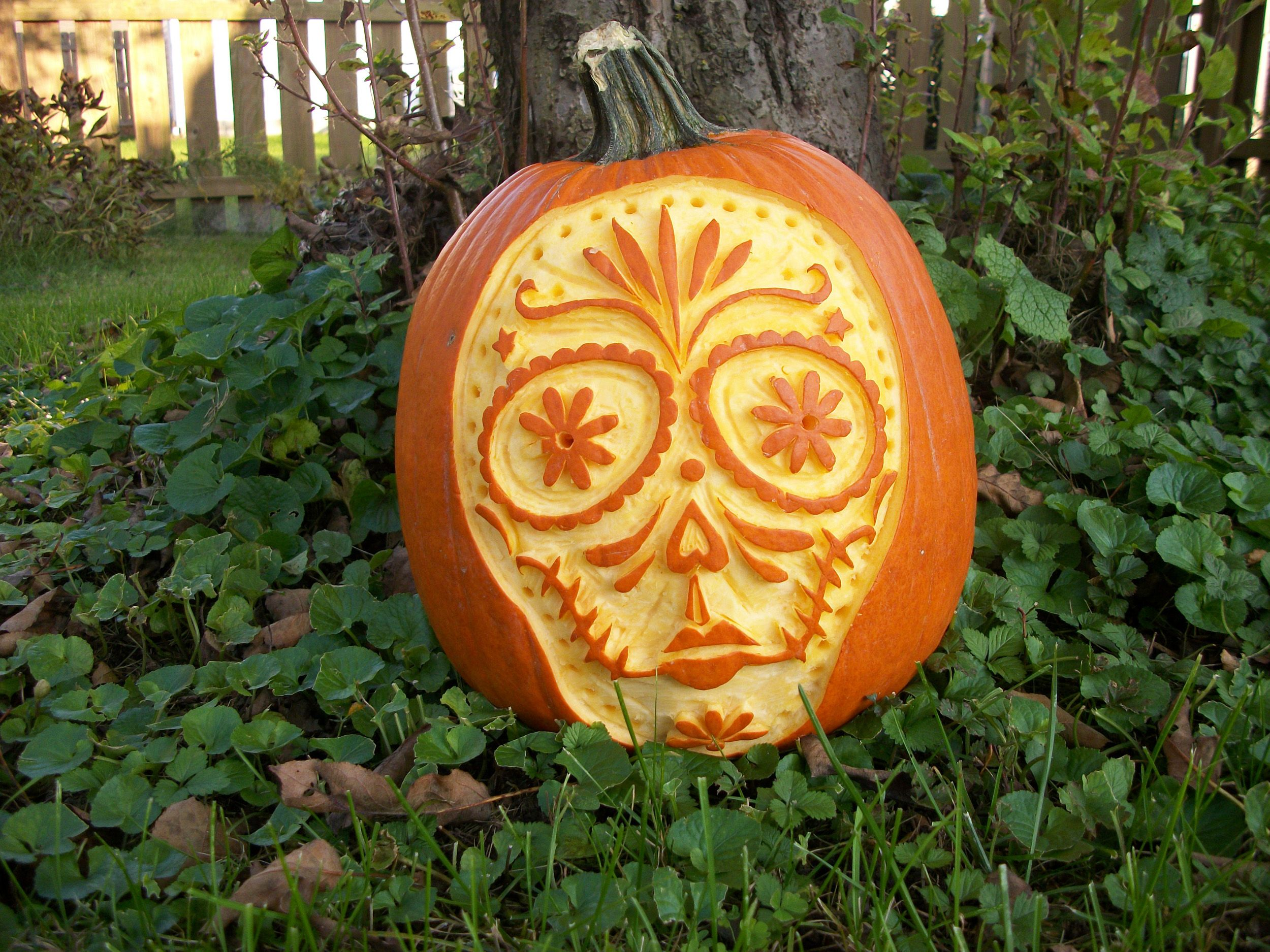 2Shea Creative Pumpkin Carving Templates: Sugar Skull Pumpkin ...