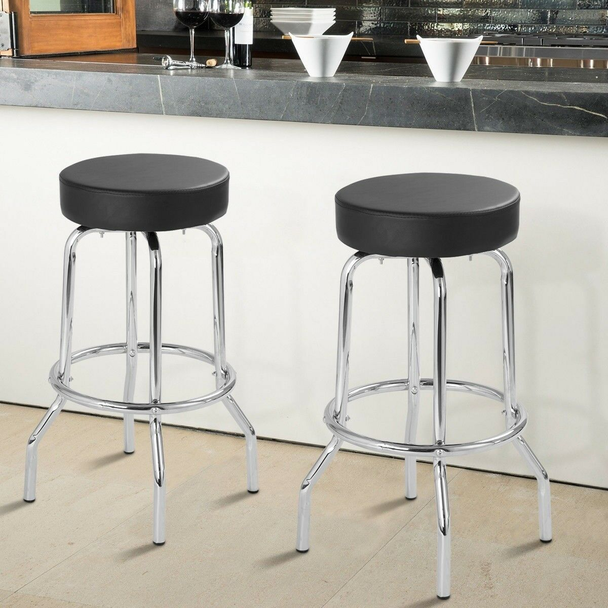Details about 2 set metal bar stools padded seat backless