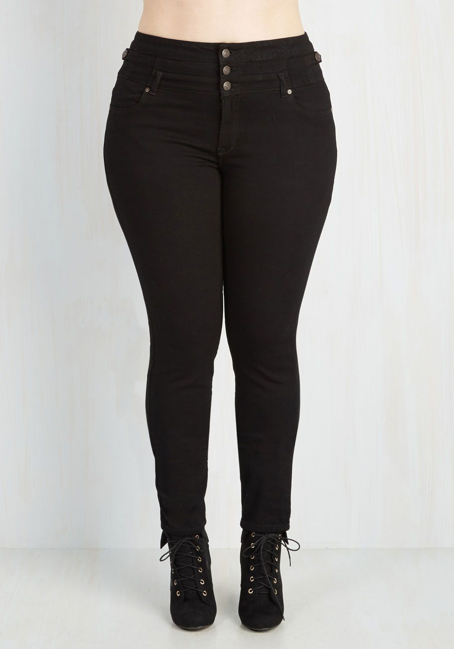 You Belong Here Jeans in Black - 1X-3X. You feel a sense of belonging everywhere you go in the comfort of these high-waisted skinnies. #black #modcloth
