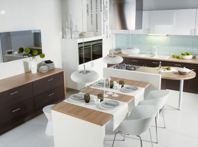 Cuisine Américaine Optez Pour Un Espace De Vie Convivial - Salle a manger contemporaine blanche pour idees de deco de cuisine
