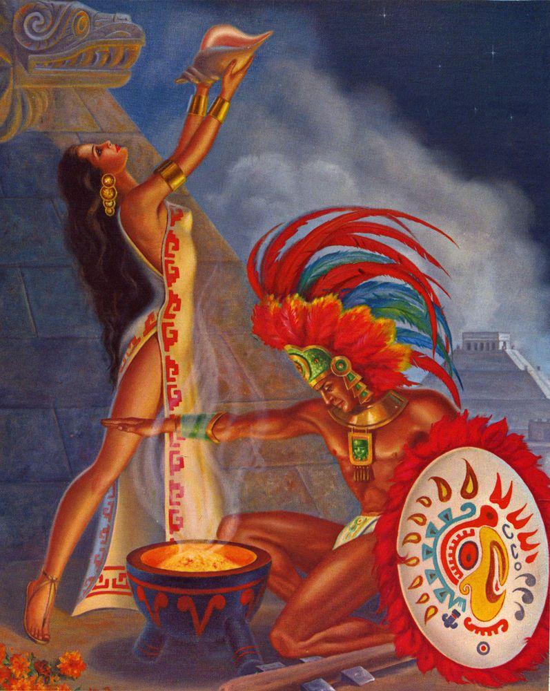 1940S Art Deco Pin-Up Calendar Print Aztec Indian Maiden -6893