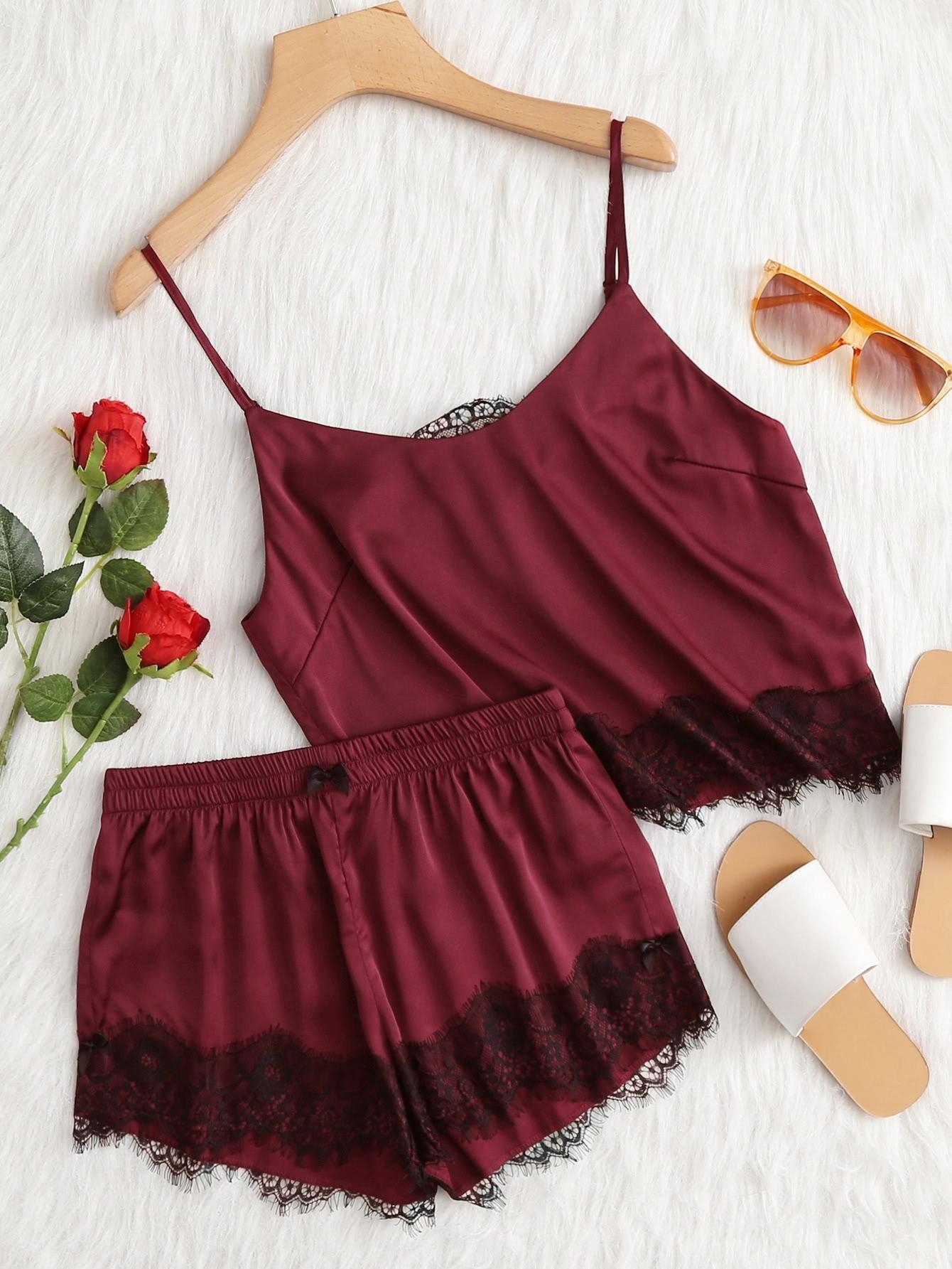71edeb57ea #Valentines #AdoreWe #SheIn - #SheIn Lace Applique Satin Cami & Shorts PJ  Set - AdoreWe.com