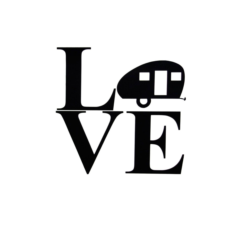 Vinyl Decal RV Teardrop Camper Silhouette LOVE Travel Trailer Caravan