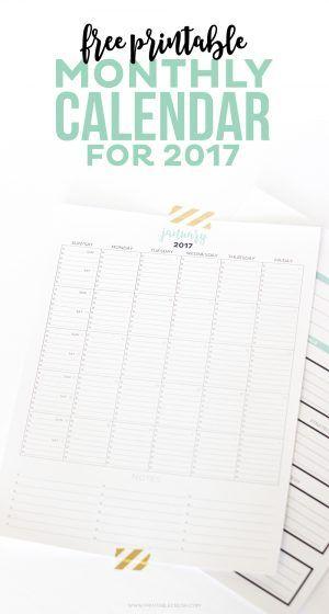 2017 simple printable calendar and goal planner printable crush