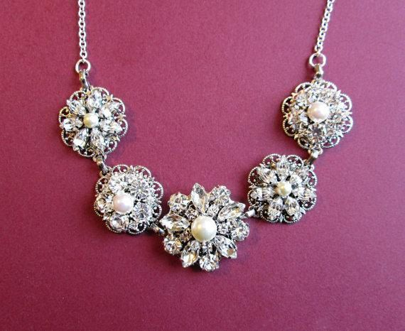 Statement Bridal Necklace SilverCrystal and by MissJoansBridal, $40.00
