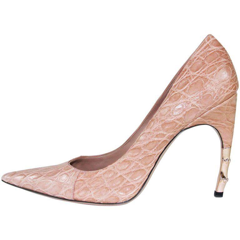 9cfa0b2cf6c New Tom Ford for Gucci 2004 Collection Crocodile Nude Bamboo Heel ...