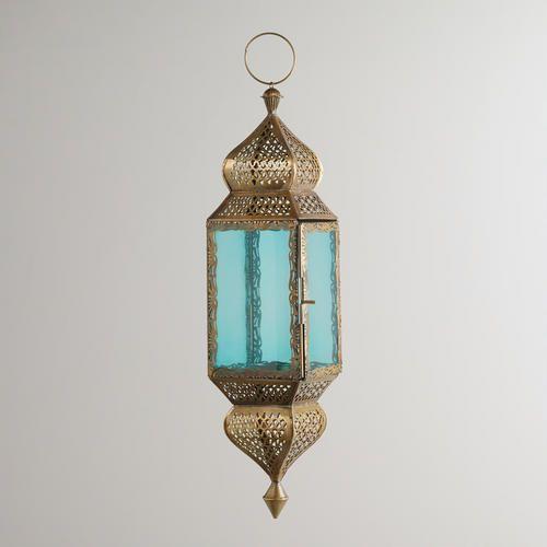 One of my favorite discoveries at WorldMarket.com: Large Teal Kamali Hanging Lantern