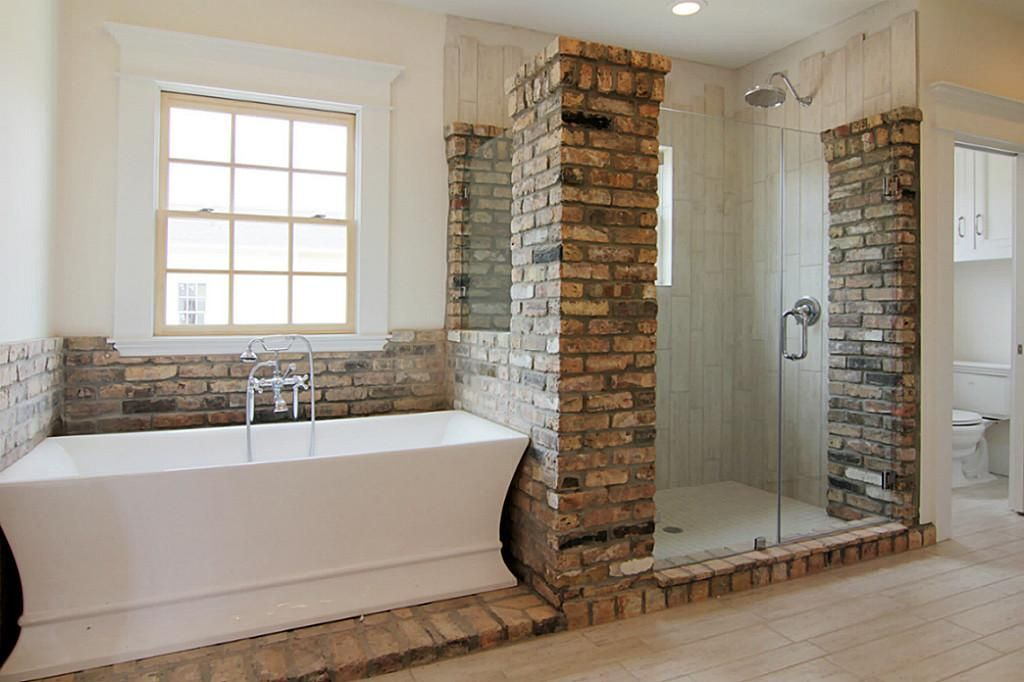 Love This Bathroom With Brick And Wood Tiles In The Shower Top Bathroom Design Brick Bathroom Home