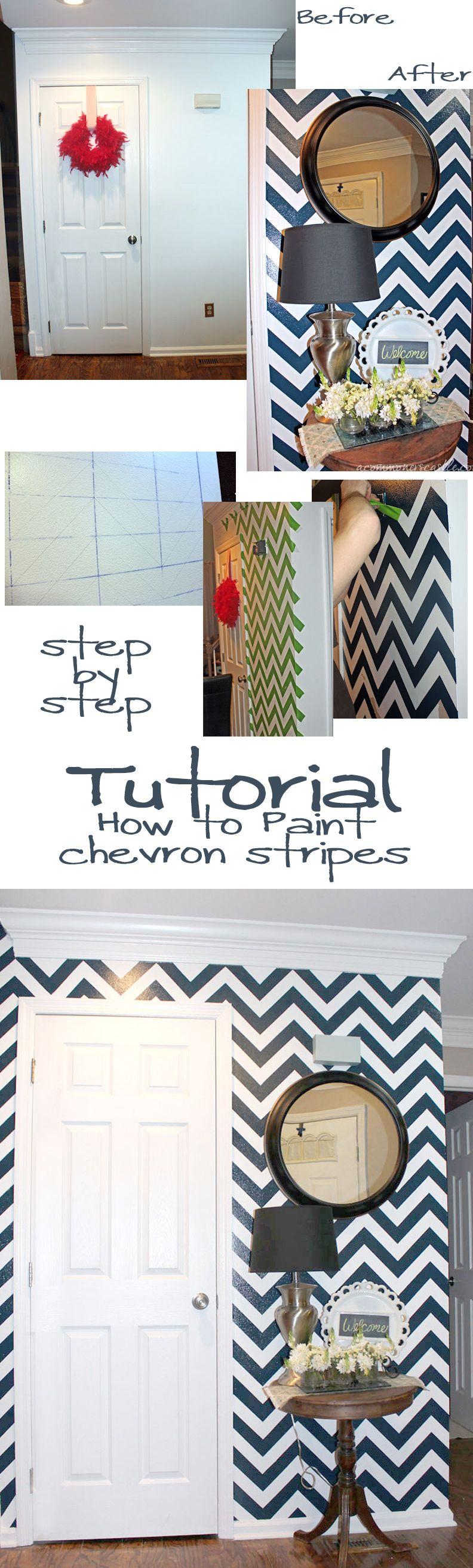 How To Paint Chevron Stripes On A Wall   Hogar, Para el hogar y ...