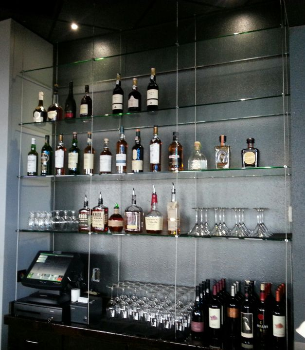 Cable Suspended Glass Bar Shelving Finally Found Someone Else Who Is Doing This Gonna Be Awesome Glass Shelves Wine Glass Shelf Glass Shelves Decor