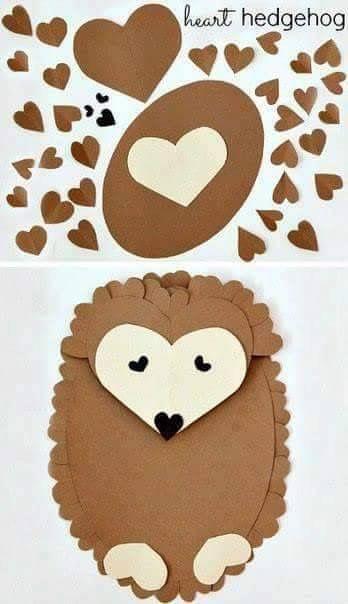 Porcupine Paper Art February Crafts Valentine Crafts For Kids