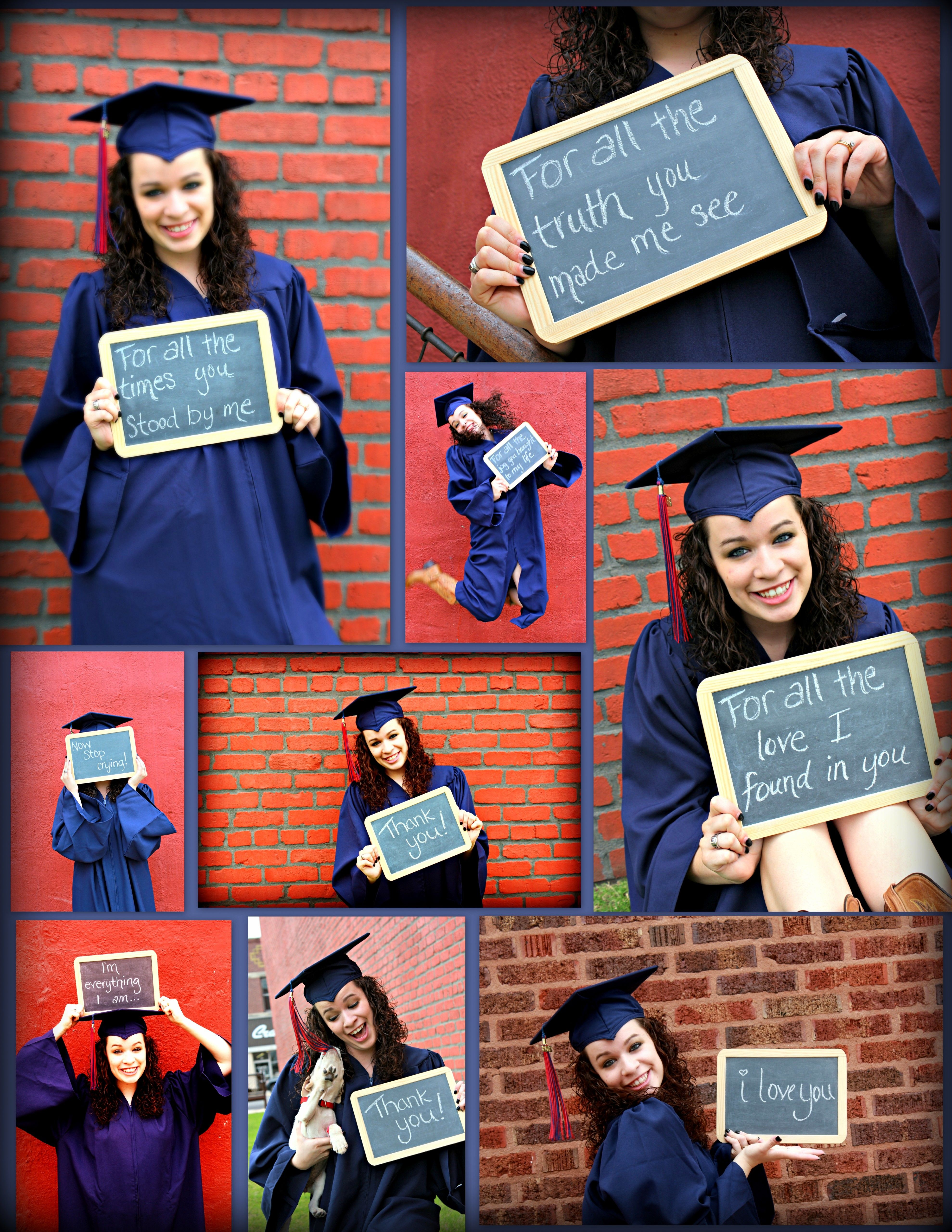 Took pictures in my cap and gown to give to my Mom for Mother\'s Day ...